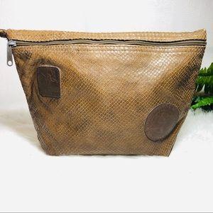 Carlos Falchi brown embossed leather vintage bag